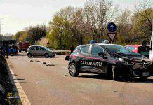 Incidente auto carabinieri e polizia